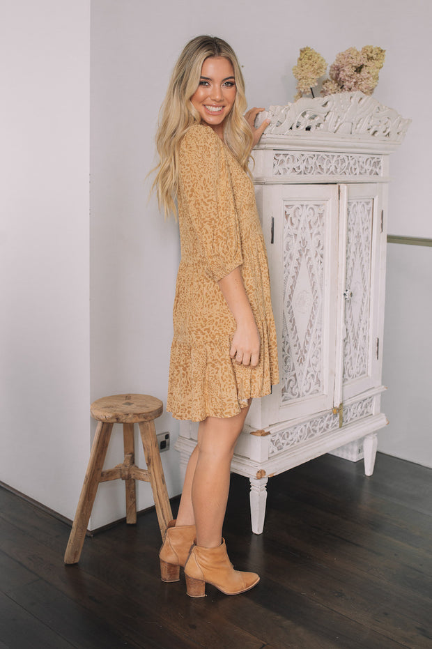 Wyomie Dress - Tan Print