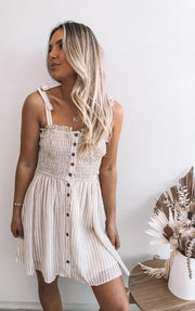 Panna Dress - Beige Stripe