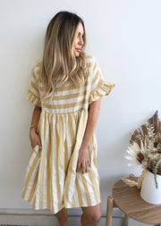 Bulla Dress - Yellow Stripe
