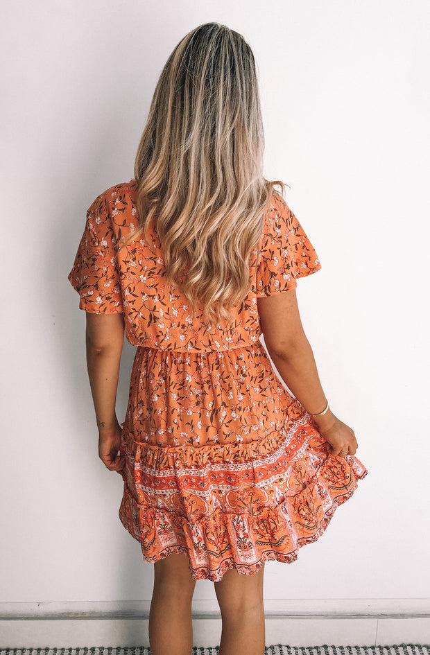 Safran Dress - Orange Print