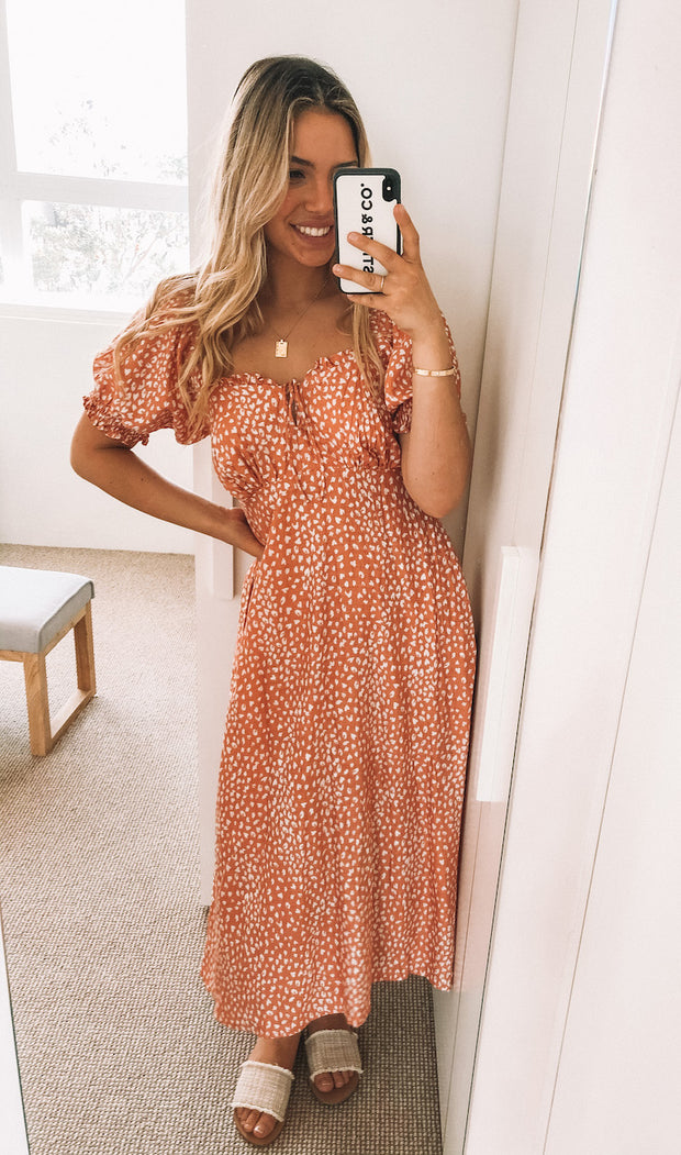 Allyson Dress - Rust Print