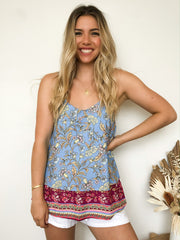 Theodora Top - Blue Print