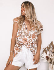 Wild Cat Top - White Print