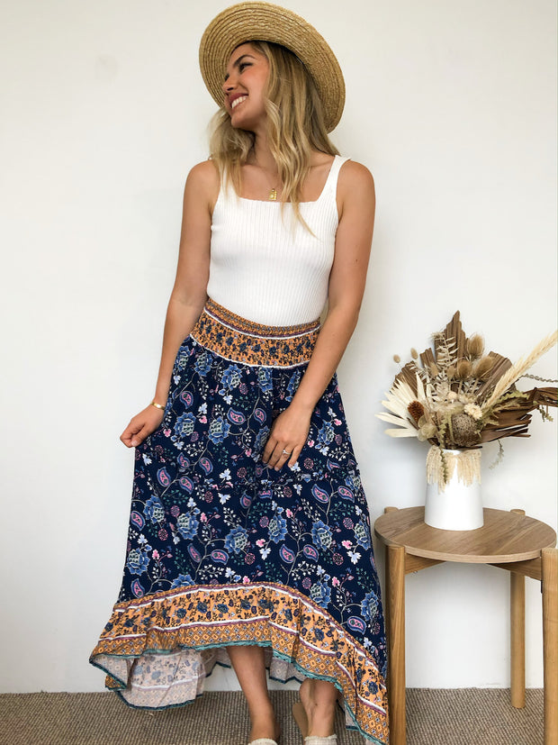 Dasha Skirt - Navy Print