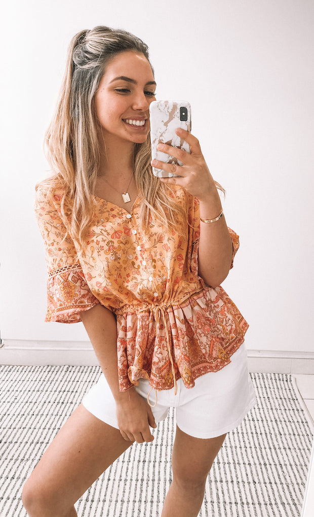 Euphora Top - Orange Print