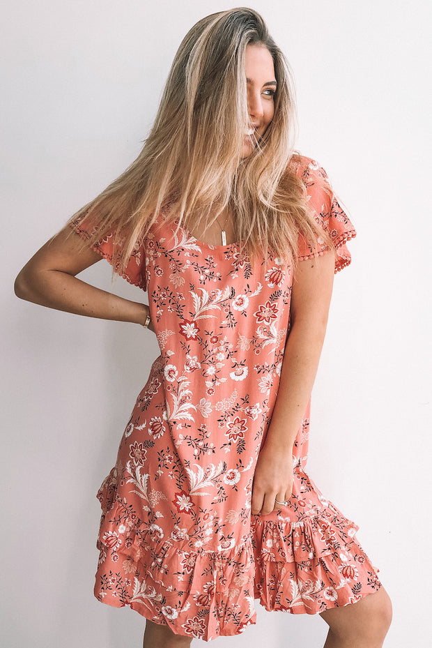 Rued Dress - Rust Print