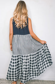 Uplifting Dress - Navy Print