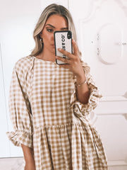 Breonna Dress - Mustard Gingham