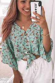 Trusting Top - Turquoise Print