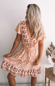 Dimitra Dress - Peach Print
