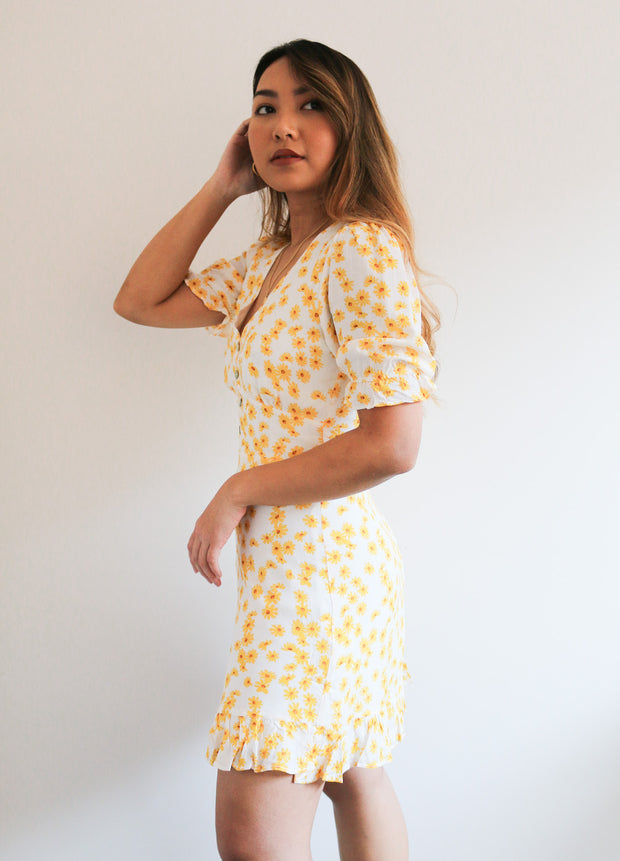 Fifi Dress - Yellow Print