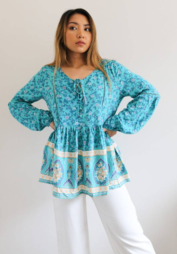 Tory Blouse - Turquoise Print