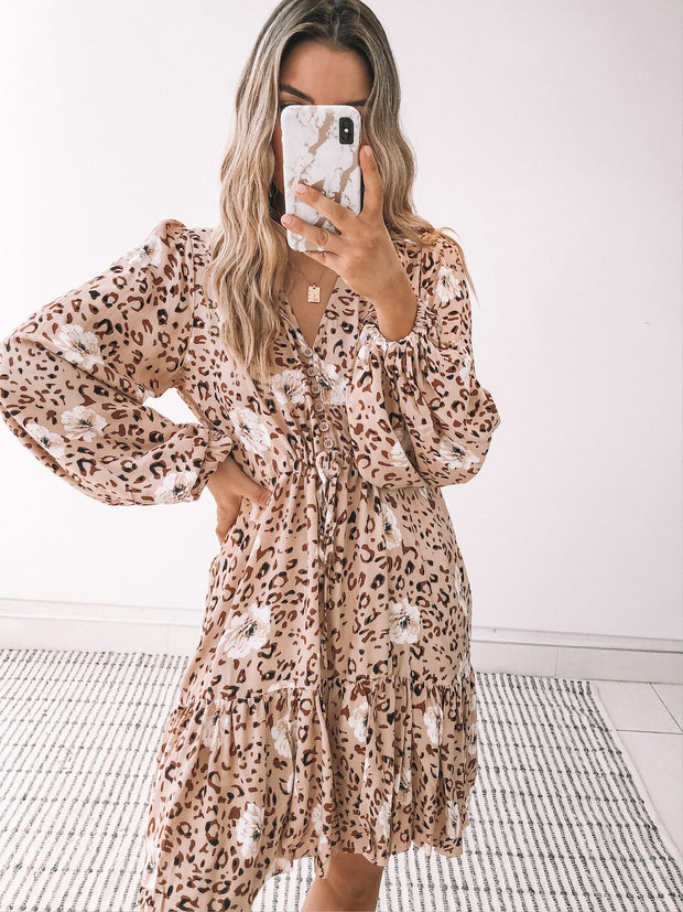 Okima Dress - Beige Print