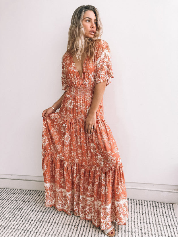 Orchard Dress - Rust Print