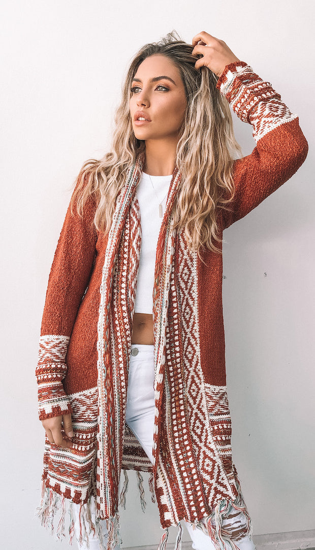 Gadigal Cardigan - Brick