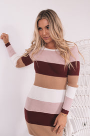 Beatriz Dress - Burgundy Stripe