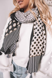 Iza Scarf - Black Print-Scarf-Womens Accessory-ESTHER & CO.
