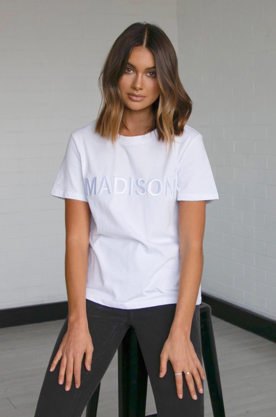 Madison Embroidered Tee - White