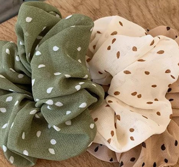 Sandra Scrunchie - Green Print-Accessories-Womens Accessory-ESTHER & CO.