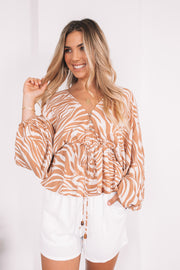 Alfia Top - Tan Zebra