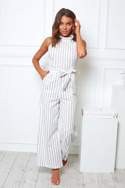 Ahoy Jumpsuit - White Stripe