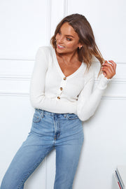 Ribbed Cardigan - Ivory