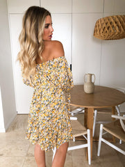 Adriana Dress - Yellow Print-Dresses-Womens Clothing-ESTHER & CO.