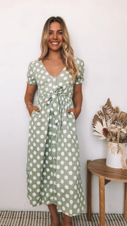 Agrippa Dress - Green Spot-Dresses-Womens Clothing-ESTHER & CO.