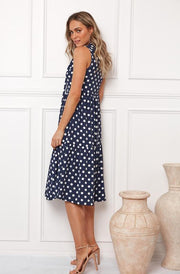 Alyce Dress - Navy Spot-Dresses-Womens Clothing-ESTHER & CO.