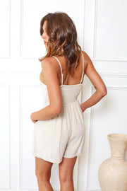 Archie Playsuit - Oatmeal-Playsuits-Womens Clothing-ESTHER & CO.