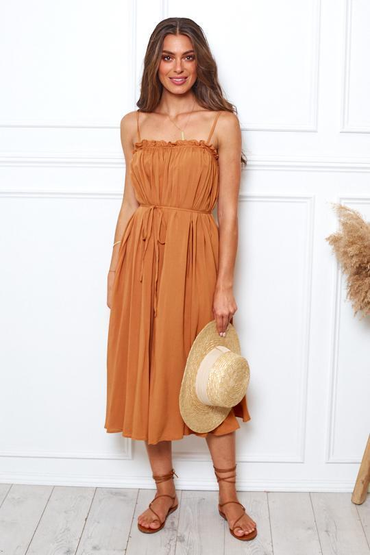 Ariba Dress - Rust-Dresses-Womens Clothing-ESTHER & CO.
