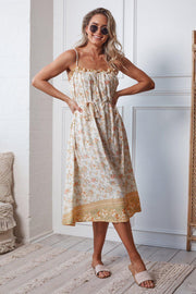 Ariba Dress - Yellow Print-Dresses-Womens Clothing-ESTHER & CO.