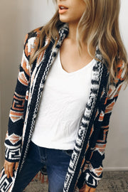 arista knit cardigan - navy print-Cardigan-HQ Fashion-ESTHER & CO.
