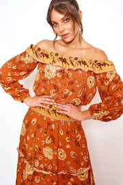 Autumnal Top - Rust Print-Tops-Womens Clothing-ESTHER & CO.