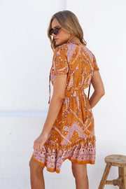 Ava Dress - Orange Print-Dresses-Womens Clothing-ESTHER & CO.