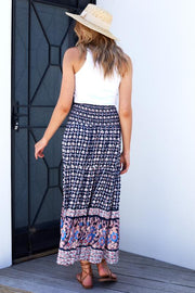 Axil Skirt - Navy Print-Skirts-Womens Clothing-ESTHER & CO.