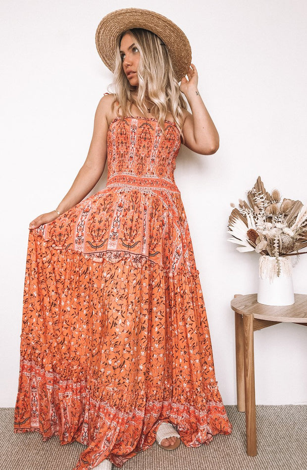 Ayla Dress - Orange Print-Dresses-Womens Clothing-ESTHER & CO.