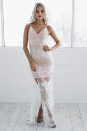 Azalea Lace Maxi Dress - Ivory-Dresses-Esther Luxe-ESTHER & CO.