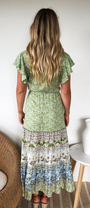 Bayleaf Dress - Green Print-Dresses-Womens Clothing-ESTHER & CO.