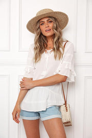 Beach Time Top - Cream-Tops-Womens Clothing-ESTHER & CO.