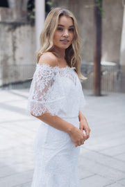 Bellflower Lace Dress - Ivory-Dresses-Esther Luxe-ESTHER & CO.