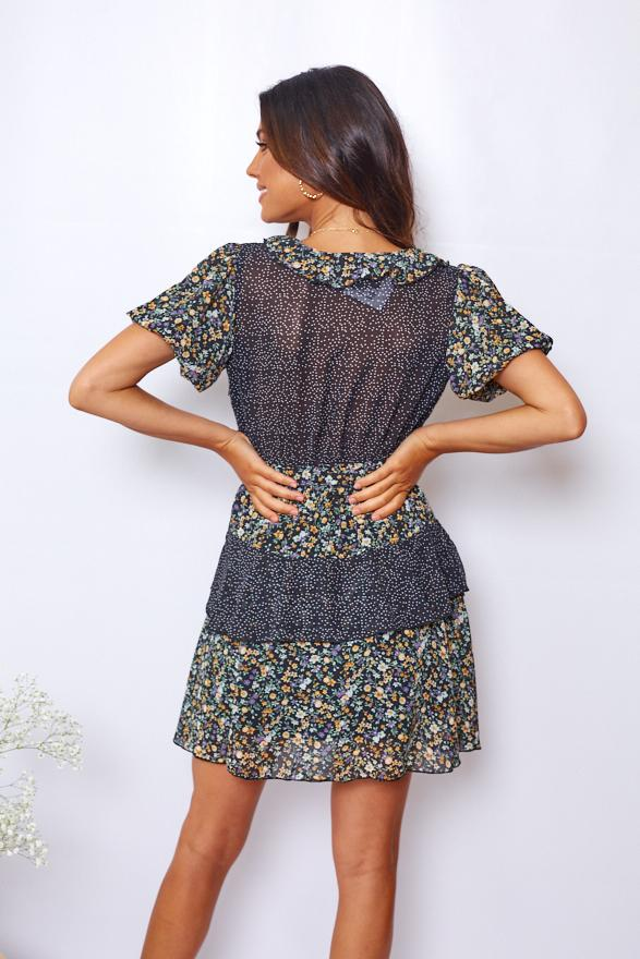 Bloque Dress - Black Print