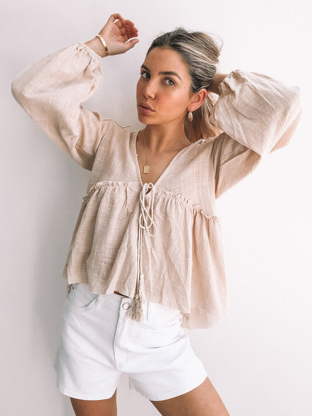 Boutique Top - Sand-Tops-Womens Clothing-ESTHER & CO.