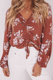 Brenda Top - Red Print-Tops-Womens Clothing-ESTHER & CO.