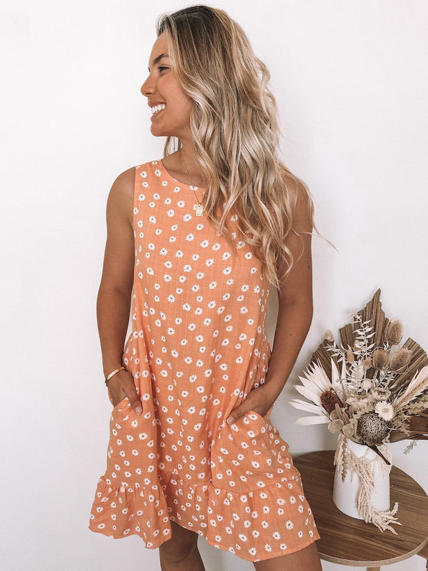 Bronwyn Dress - Rust Print-Dresses-Womens Clothing-ESTHER & CO.