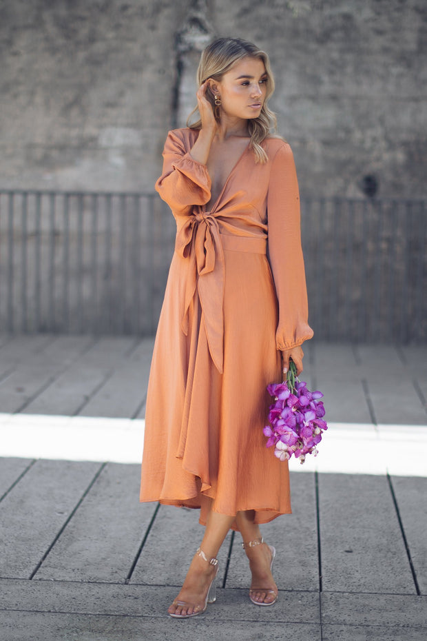 Preorder Bryleigh Dress - Rust-Dresses-sunny girl-ESTHER & CO.