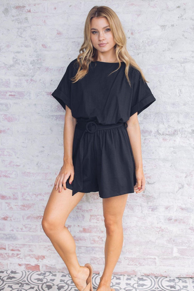 Cacao Playsuit - Black-Playsuits-Sasha Clothing-ESTHER & CO.