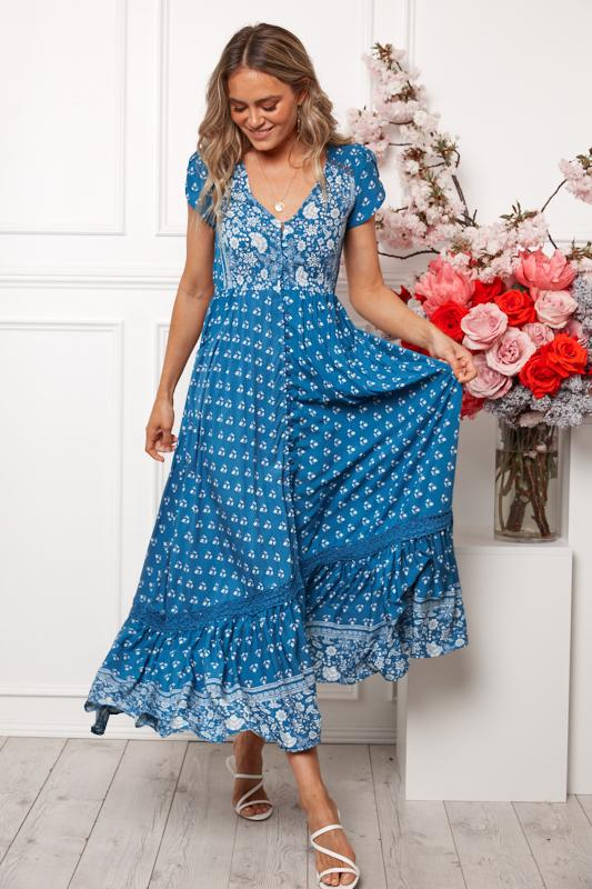 Carman Dress - Blue Print