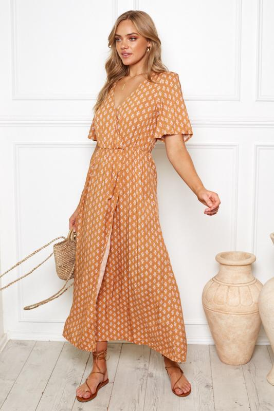 Carmena Dress - Rust-Dresses-Womens Clothing-ESTHER & CO.