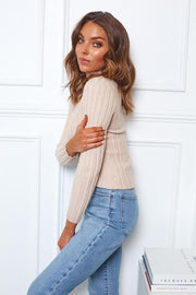Carrie Knit - Beige-Tops-Womens Clothing-ESTHER & CO.